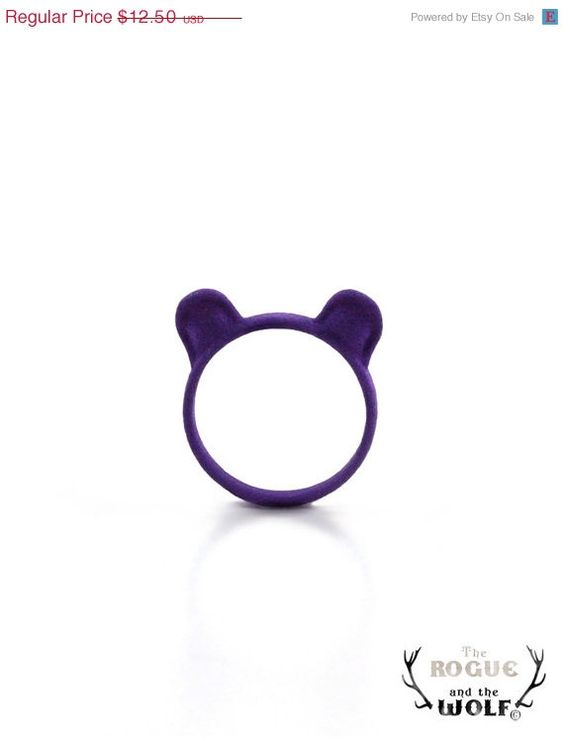 SUMMER SALE  Purple Bear Ring Grizzly Bear by TheRogueAndTheWolf, $8.75