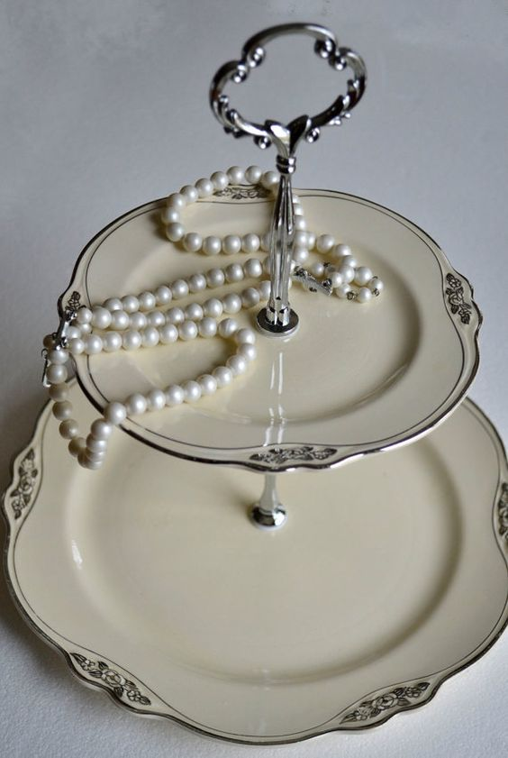 Jewelry+Stand+2+Tier+Serving+Tray+White+Rose+China+by+SimplyChina