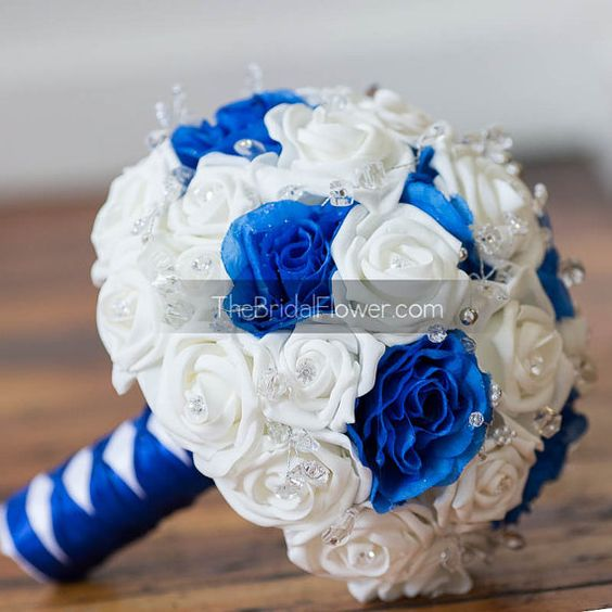 Royal Blue And White Wedding Bouquet With Crystals Bridal Bouquet Cobalt Blue Or Sapphire Blue
