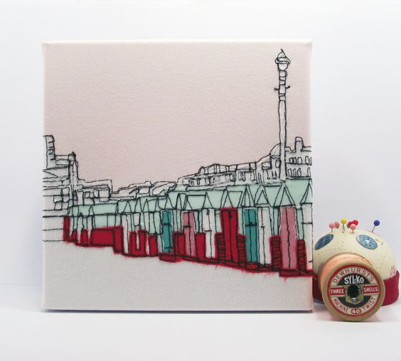 Beach Huts  Limited Edition Embroidery Art Canvas by gillianbates