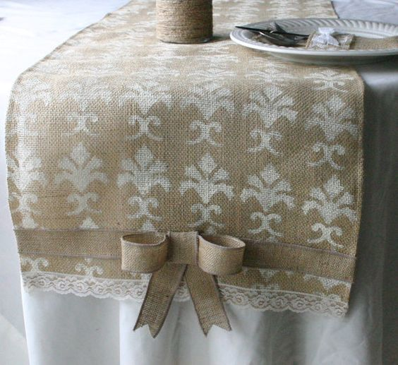 Burlap wedding decorations  Burlap table runner  by Bannerbanquet, $25.00: