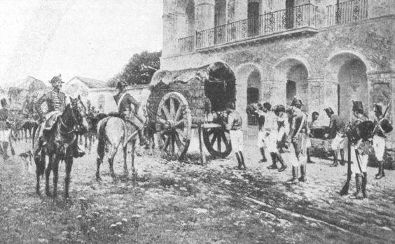 Los británicos se apoderan del tesoro en la villa de Luján en 1806. Acuarela de F. Fortuny. Actualmente en el Museo Histórico de Luján.
