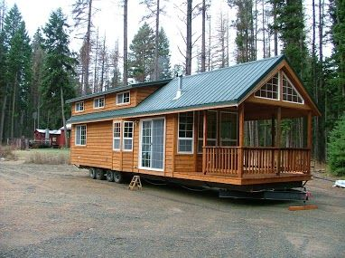 small cabin on a mobile home frame