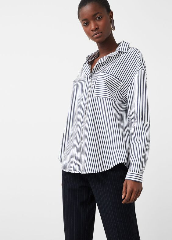 Gestreept katoenen overhemd - Overhemden voor Dames | MANGO België