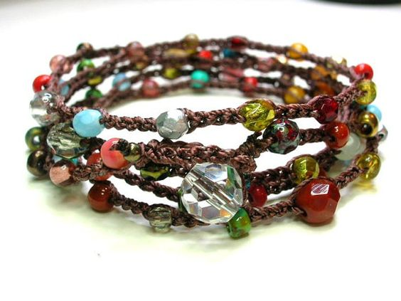 Surfer crochet wrap bracelet long beaded necklace. by 3DivasStudio