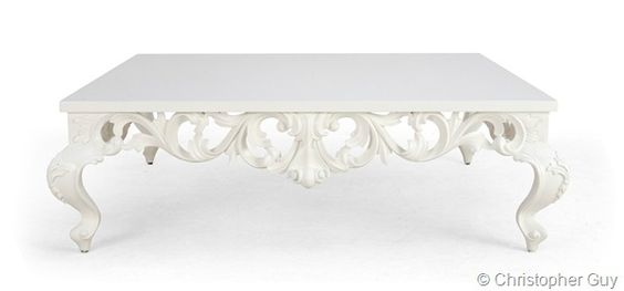 Christopher guy white coffee table in Baroque style.: White Living Rooms, White Coffee Tables, Baroque Style, White Rooms, Blue White, Guy White, Baroque White