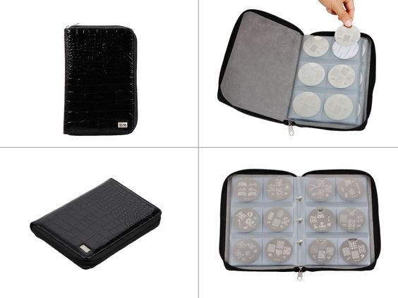 Nail Stamping Plate Zipper Leather Case Organizer