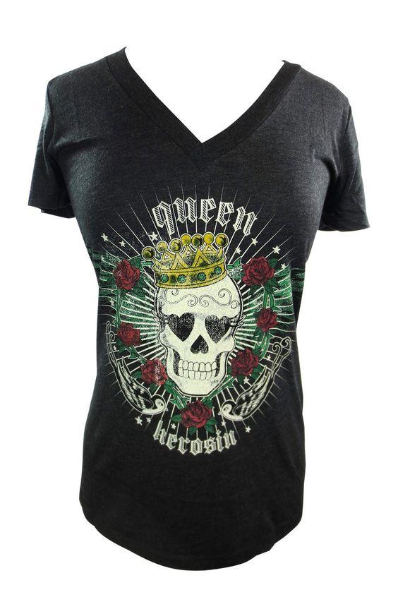 Rockabilly Tattoo Lady Tee - Skull Rose Sparrow Queen Skull T-shirt