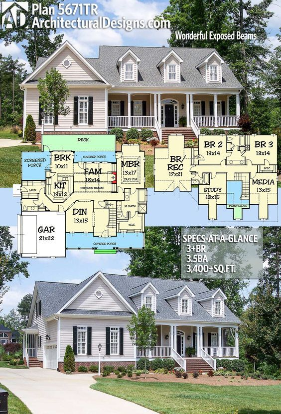 Plan 5671tr Wonderful Exposed Beams Architectural Design House Plans Country House Plans House Plans