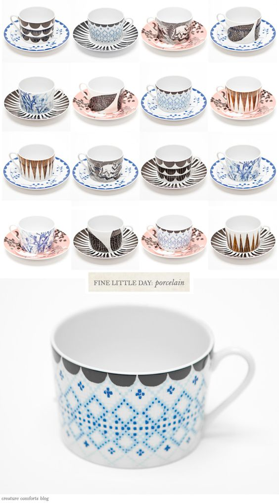 Porcelain tea cups from Fine Little Day (via Creature Comforts)