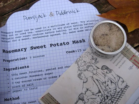 Our organic Rosemary Sugar comes complete with Recipe 'Letter' for Rosemary Sweet Potato Mash in a handmade 'Family Picnic' envelope. A unique gift. www.etsy.com/listing/217925602/rosemary-sugar-parcel-with-recipe-letter