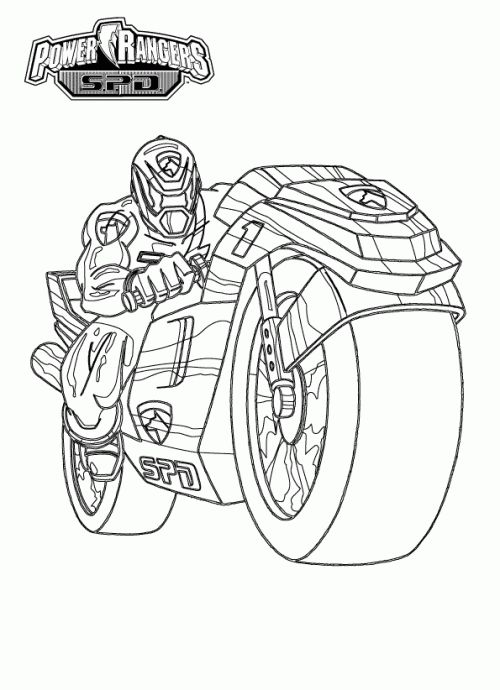 Power Rangers Spd With Motorcycle Coloring Page Birthday Power Rangers Spd Coloring Pages
