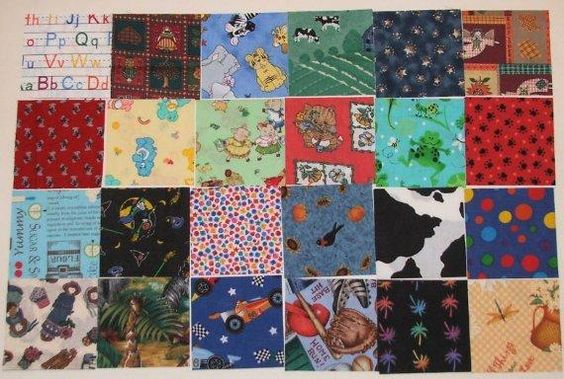 "40 Pieces I-Spy Fabric Charm Pack 4"" x 4"" Fabric Quilt Squares Block Sewing Baby Children"