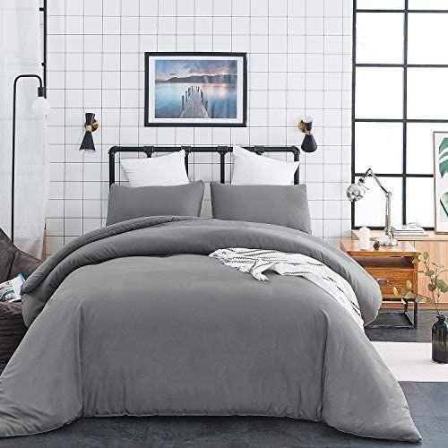 Jumeey Grey Comforter Queen Set Solid Gray Comforter Set Full Bedding Cotton Men Women Teens Pure Gre Grey Comforter Sets Grey Duvet Bedding Duvet Bedding Sets