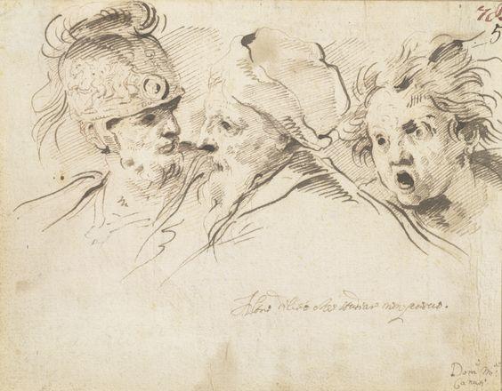 Domenico Maria Canuti | Kopfstudien | Mitte 17.-spätes 17. Jahrhundert © Albertina, Peter Ertl  #Spurensuche #SearchforTraces #Drawing #GraphicArt #Art