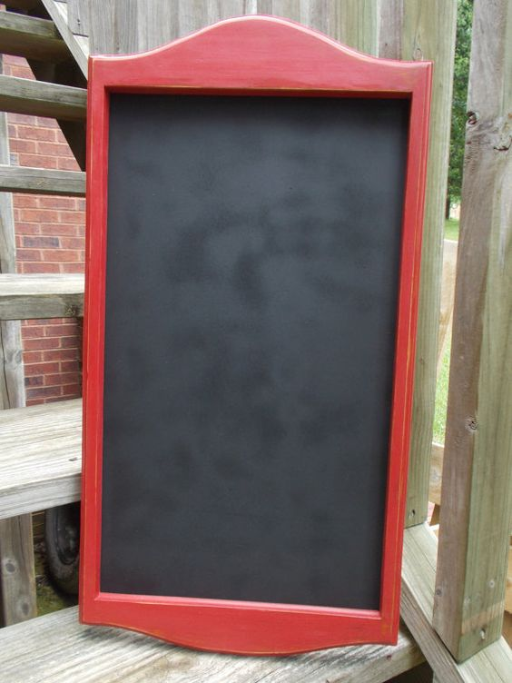 Large Chalkboard Or Dry Eraseboard Red Framed By