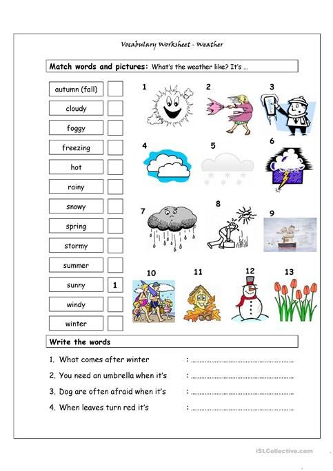 Vocabulary Matching Worksheet Weather Ejercicios De Espanol