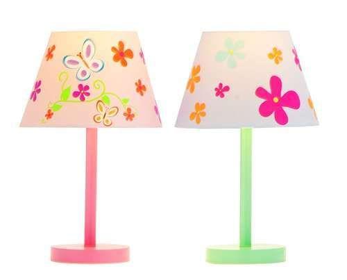 Lamp Set in Pink & Green Flower & Butterfly Lovely Girl s