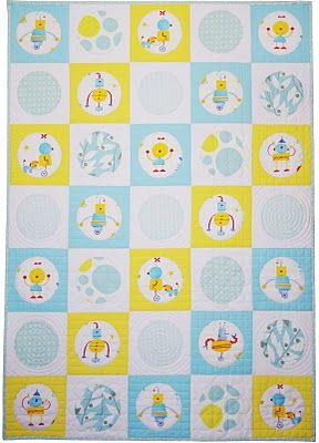 Robot Circle Quilt...would work great for any fabric with a medium/large scale print