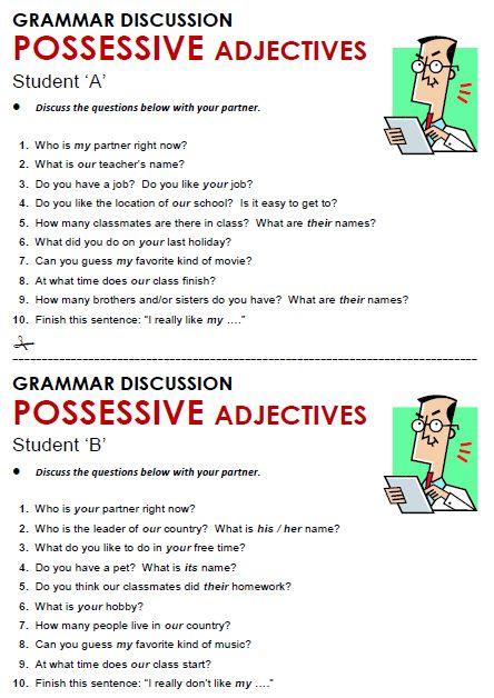 adjectives worksheets pdf possessive adjectives esl math worksheet ...