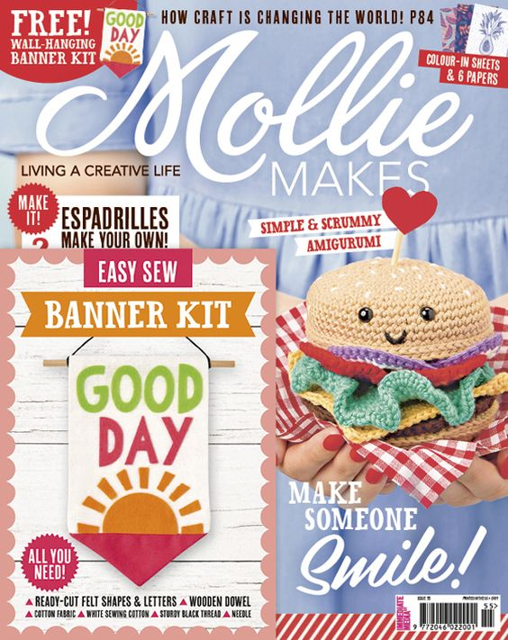 Mollie Makes issue 55 with free craft kit by Alsion Sadler of #makeitsewcial.