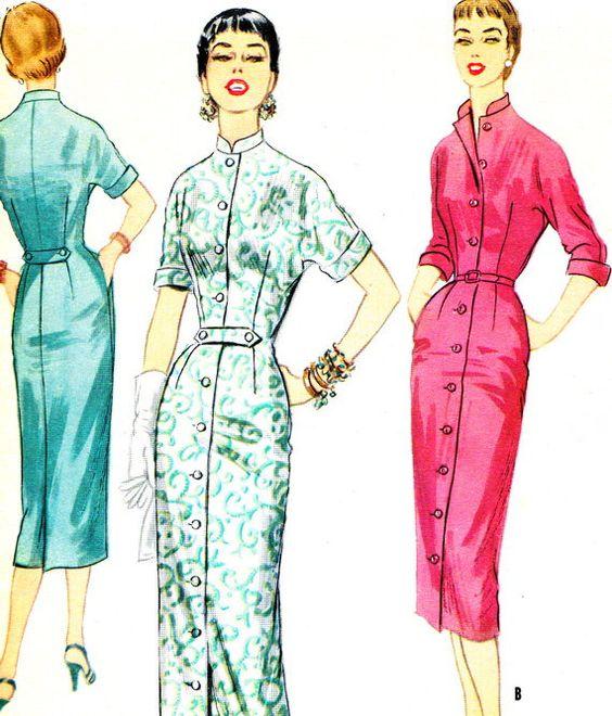 1950s Dress Pattern McCalls 3290 Slim Skirt Mandarin Collar ...