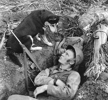 U.S. Marine chats with his loyal dog during World War ll.