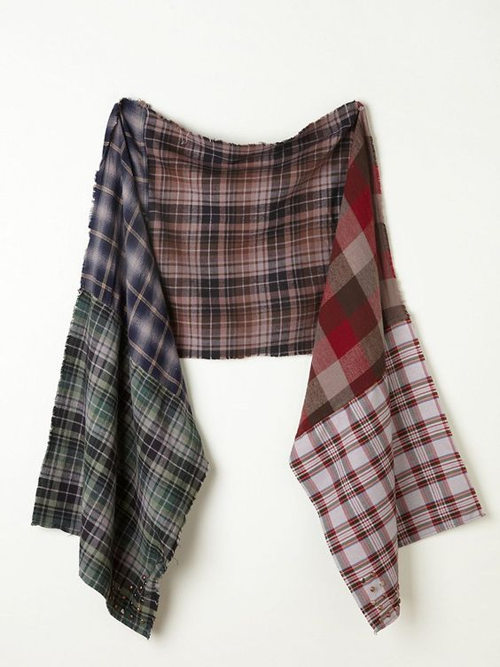 """Free People Pieced Multi Checked Shirt Scarf with gently frayed edges. 18.5""""by 80"""""""