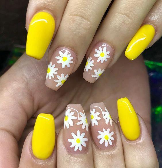 Spring Floral Nails Flower Nails Simple Spring Nails Spring Nail Colors Short Spring Nails Acrylic Nails Cu Yellow Nails Design Yellow Nails Nail Designs