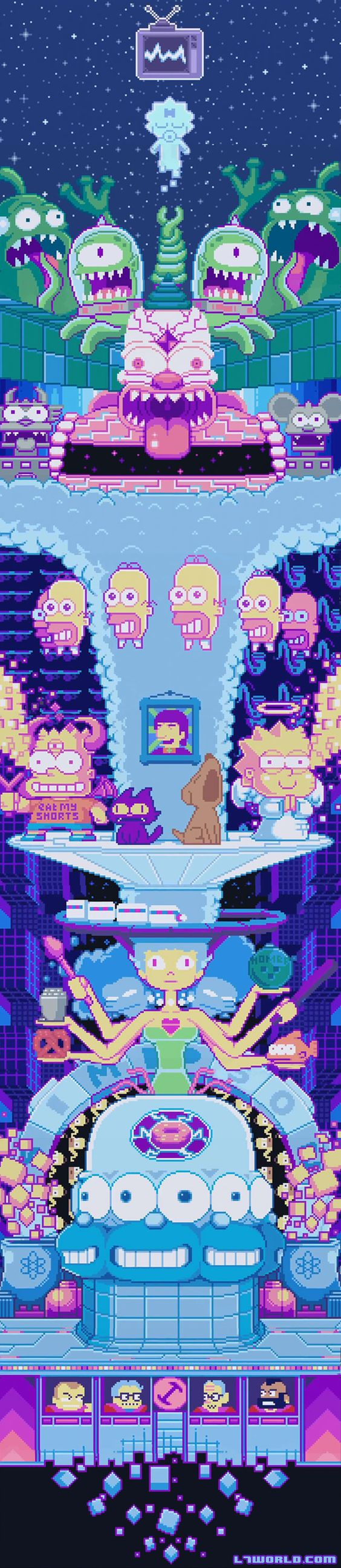 """The Simpsons have never been edgier than in this week's episode """"My Fare Lady."""" The opening sequence has been reimagined in pixel form complete with Lo-fi video game music.The family gets digitized into a video game world resembling art by Robertson titled """"We Made It."""" The camera pans up a towering homage to classic episodes that includes the Mr. Sparkle mascot, the Stonecutters, and the infamous three-eyed fish. http://l7world.com/2015/02/simpsons-couch-gag-features-pixel-art-by-fans.html"""