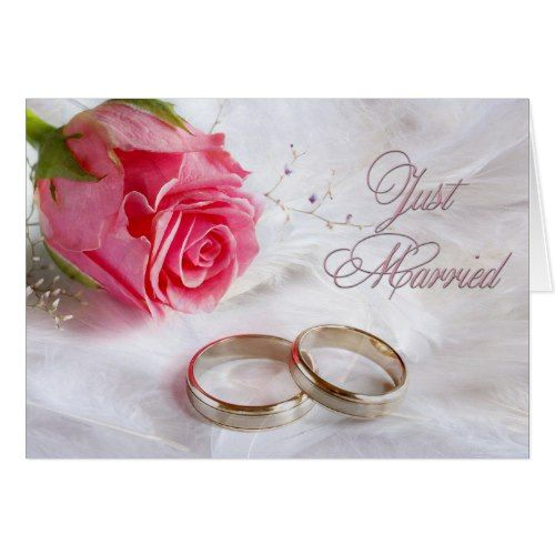 Just Married Or Just Eloped Announcement Zazzle Com Marriage Cards Wedding Congratulations Marriage Greeting Cards