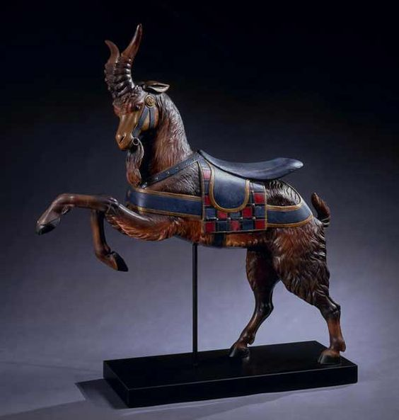 Carved Carousel Goat - SOLD  Charles I.D. Loof (c. 1852-1918)  Brooklyn, New York, c. 1880  White pine with original paint  60 x 55 x 12 inches