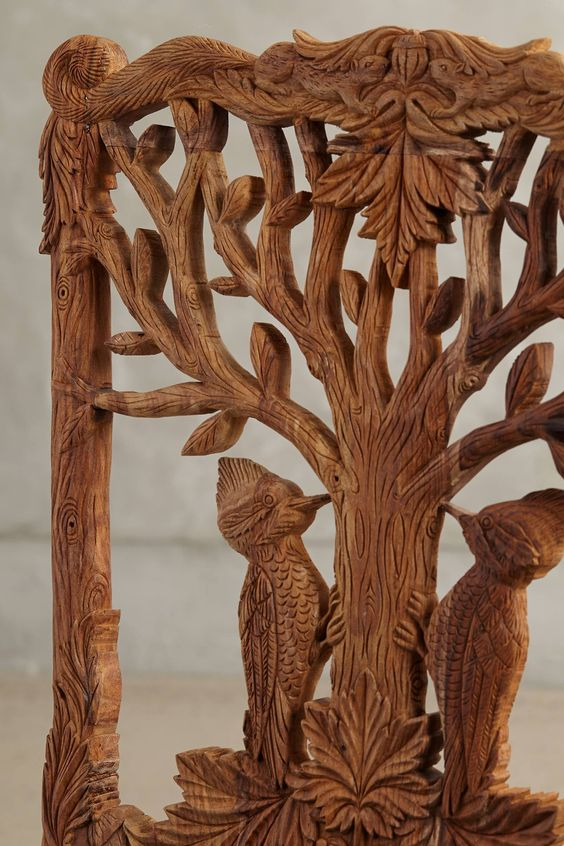 Handcarved Menagerie Woodpecker Dining Chair - anthropologie.com