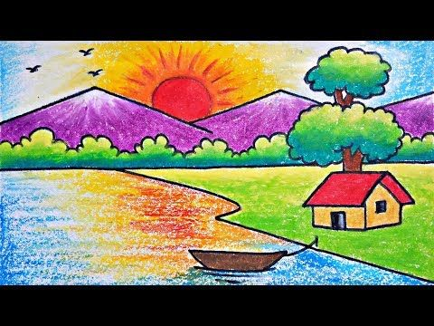 Very Easy Scenary Drawing How To Draw Simple Scenery For Kids Youtube Art Drawings For Kids Oil Pastel Drawings Easy Scenery Drawing For Kids