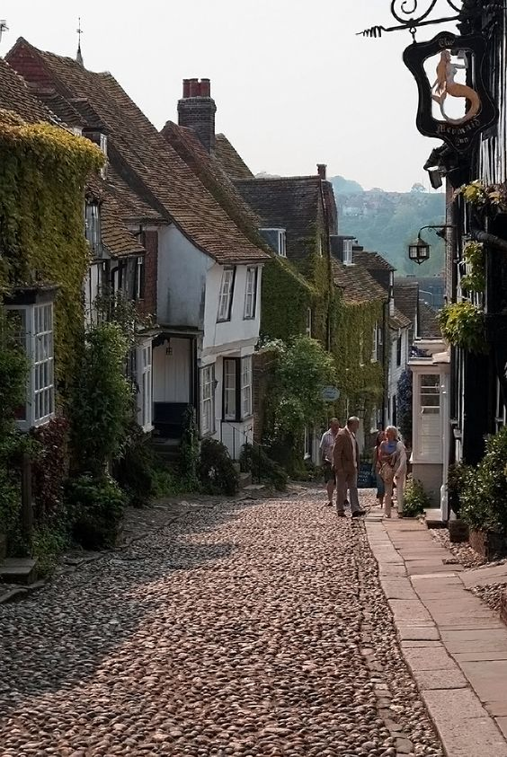 """Mermaid Street, Rye, East Sussex, England. Rye is a literary town: Lamb House was home to Henry James, E. F. Benson (who immortalized the house as Miss Mapp's home and called Rye """"Tilling""""), and Rumer Godden (who called Rye """"Brede"""")"""