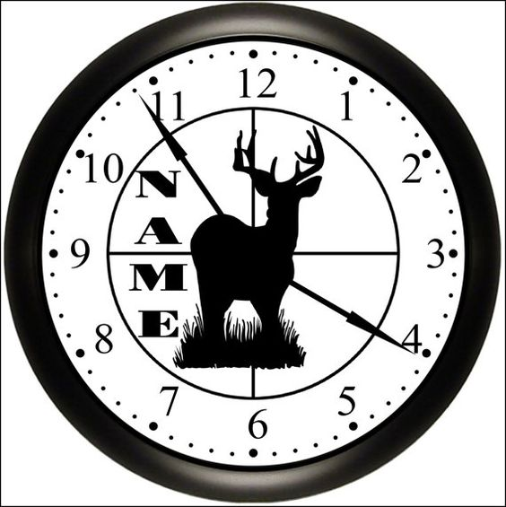 Personalized Hunt / Hunter / Hunting Black Silhouette Wall Decor Sports Clock Custom Gift For Dad Simply Southern Gift.