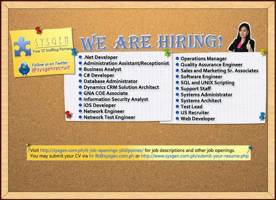 Job openings as of September 6, 2013 #Sysgen #ITJobs #ITCareers - system architect sample resume