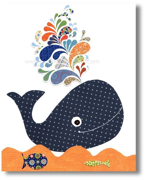 Nursery art prints, baby nursery decor, nursery wall art, kids art, Whale, navy blue, orange, ocean, bathroom, The Happy Whale 8x10 print. $14.00, via Etsy.