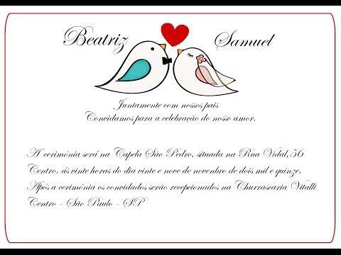 Como fazer convite de casamento Pombinhos no Word - YouTube