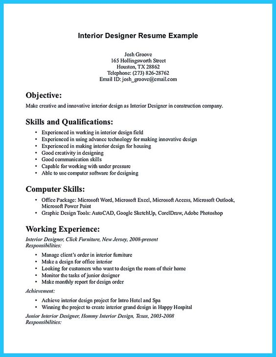 Interior Design Resume Layout  Ideas About Interior Design