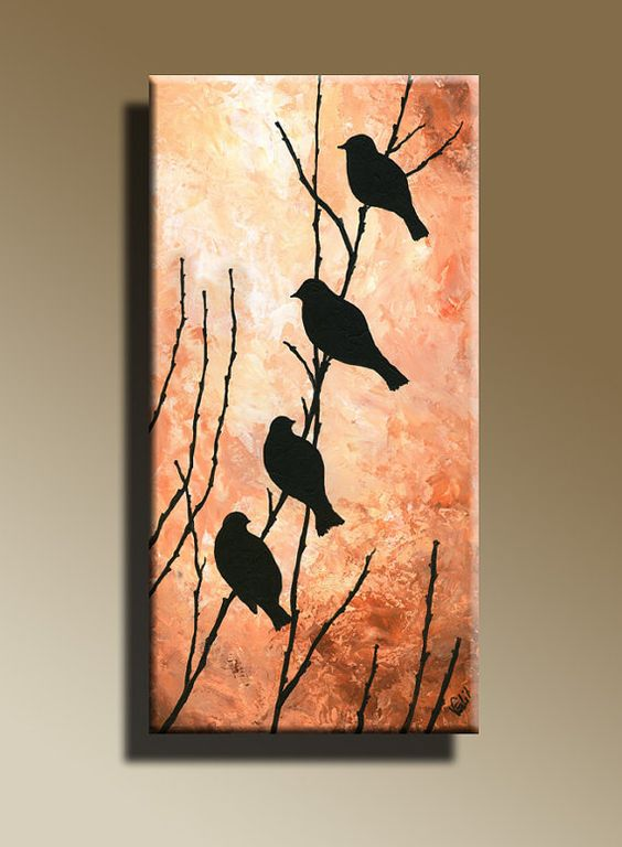 Canvas Print Of Original Acrylic Painting Night Bird