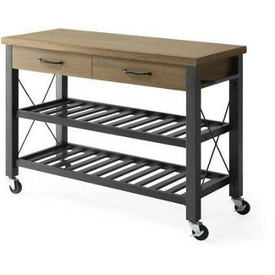 kitchen island cart storage rolling utility portable table top