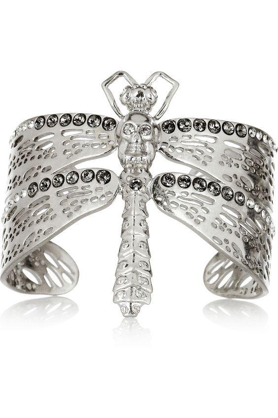 Alexander McQueen|Silver-tone Swarovski crystal dragonfly cuff