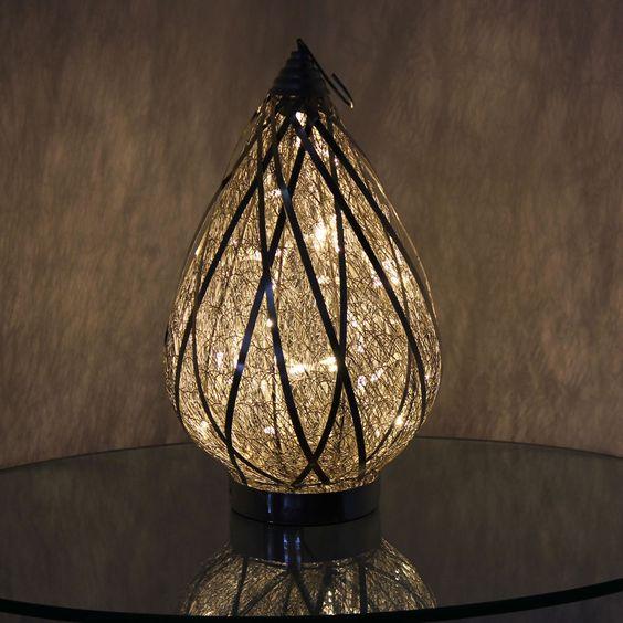 Orientalische Tischlampe Korf Aus Silberdraht Mit Led Lichterkette Orientalische Lampen Led Lichterkette Lampe
