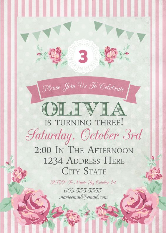 Shabby Chic Birthday Invitation Girls Birthday Lace Invitation – Girl Photo Birthday Invitations