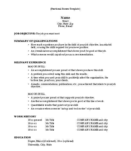 Functional Resume Template Sample - Functional Resume Template - reference format for resume