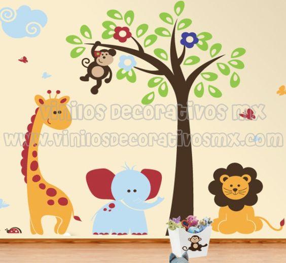 Vinilos infantiles vinilos de animales de la selva for Decoracion de cuartos infantiles