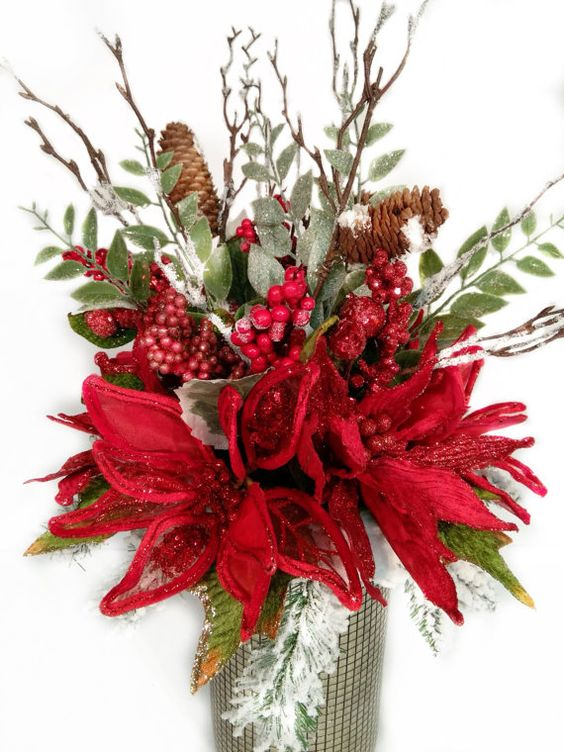 Christmas centerpiece holiday floral arrangement for Poinsettia arrangements