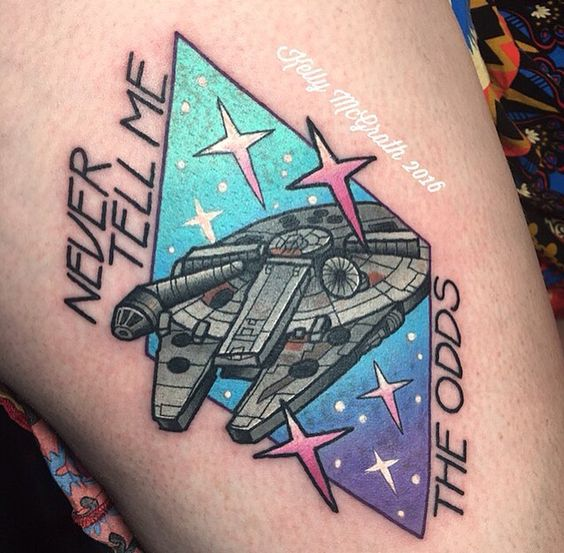 Kelly McGrath tattoo - Star Wars  Omg this is literally my tattoo. That's my leg. That's so weird.