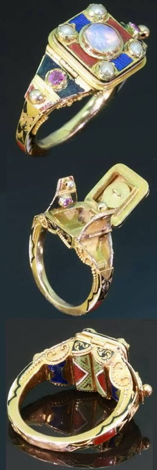 An antique triple poison ring, probably French, circa 1840